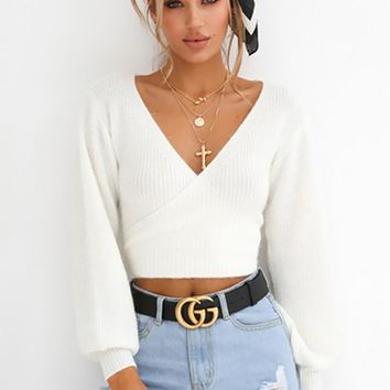Always Casual White Long Lantern Sleeve Cross Wrap V Pattern Neck Tie Back Crop Pullover Sweater