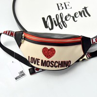 Moschino 2019 new female models wild love sequins letter pockets shoulder bag