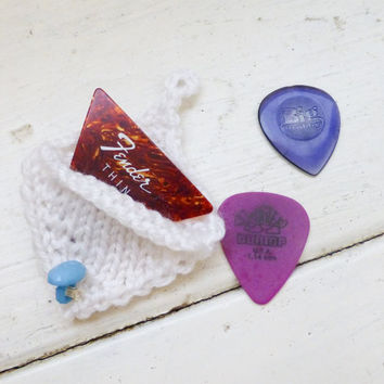Knit guitar pick cozy, guitar pick holder, knit holder, white pick holder, button closure, ready to ship, handmade, rock star, musician gift