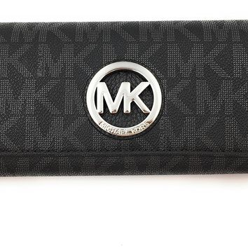 Michael Kors Black PVC MK Signature Fulton Flap CONTINENTAL Wallet