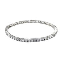 Flossily Round CZ Silver Tennis Bracelet – 7in | 10ct