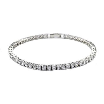 Flossily Round CZ Silver Tennis Bracelet – 7in   10ct