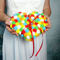 Wedding ring bearer pillow in heart shape, custom, colorful wedding, pompom tassel cushion, funny decor, geek wedding accessory