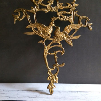 Brass Love Bird Wall Hanging/ Wall Decor/ Brass Birds/ Love Birds/ Vintage Wedding Decor