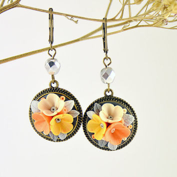 Orange Gray Yellow Floral Earrings Gift Romantic Jewelry Feminine Jewelry Small Earrings Delicate Earrings
