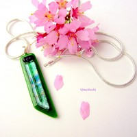Shades of Spring Handmade Fused Dichroic Glass Jewelry Pendant in Green and Pastels