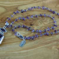 Sterling Silver Amethyst Chip Necklace & Pendant