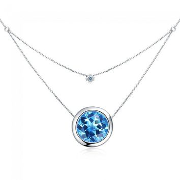 Silverbene 3.5ct Swiss Blue Topaz Birthstone Sterling Silver Double Layer Necklace