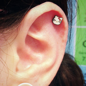 Hello Kitty Surgical Steel Stud Earring. Perfect for Helix and Cartilage Piercings.