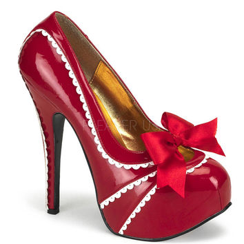 Bordello Red Patent Slip On Red Bow Stilettos