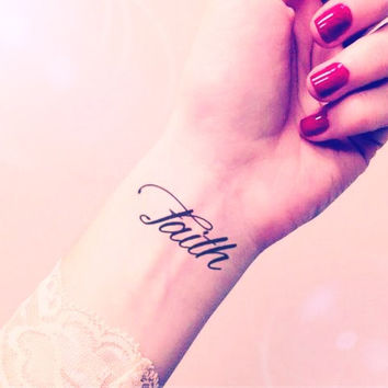 2pcs FAITH script calligraphy tattoo - InknArt Temporary Tattoo - quote tattoo wrist sticker fake tattoo tiny bird love