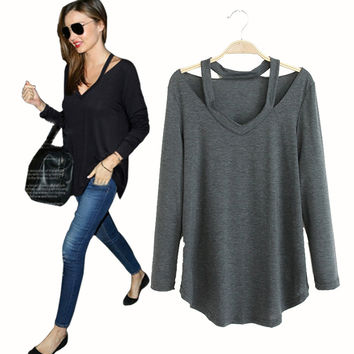 2015 Autumn New Casual Cut Out Shirt Women Tops High Street Fashion Slim Blouse 4 Colors Plus Size Blusas Cheap Clothes China