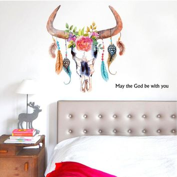 Horns painted feather pattern marriage room wall stickers bedroom living room children's room TV sofa backdrop decorative sticke