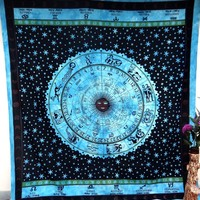 Blue Star Zodiac Astrology Horoscope Mandala Tapestry Wall Decor Wall Hanging Dorm Decor Bedspread Bed Sheet Beach Blanket