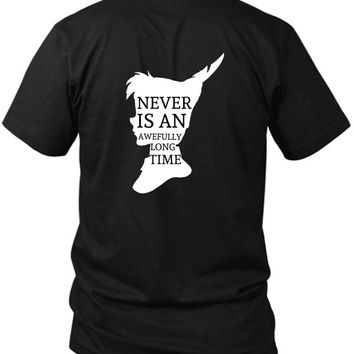 Peter Pan Quote Silhouette 2 Sided Black Mens T Shirt