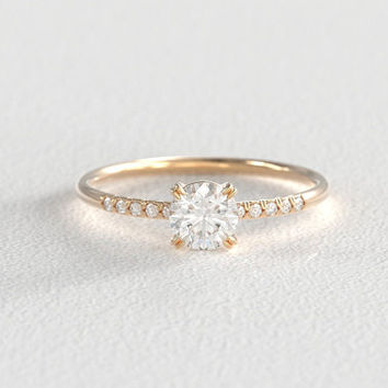 Round Brilliant Cut Moissanite Solitaire Engagement Ring with Hand Pavé Canadian Diamond Band set in Recycled Gold
