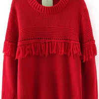 Red Long Sleeve Fringed Knit Sweater