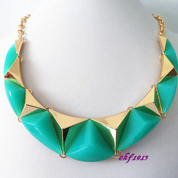 NEW  Geometric Bubble necklace, Handmade Bib necklace, Statement Necklace, Turquoise green