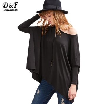 Black Boat Neck Over Sized Holman Sleeve Tops Women Long Sleeve Tees Basic Solid Loose T-shirt