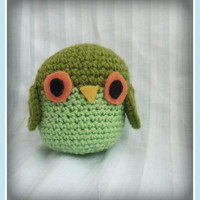 Green Amigurumi Owl, Small Crochet Plush Owl