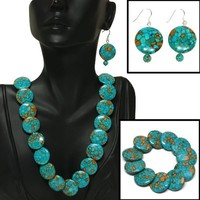 "Round Green Turquoise Howlite Necklace 18"" W/Lobster Clasp Bracelet Earrings Set 
