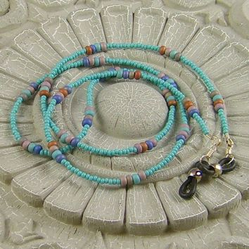Eyeglass Holder Beaded Turquoise Lavender Blue Bronze and Taupe Beads FREE SHIPPING