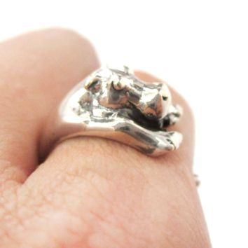 Realistic Hippo Shaped Animal Wrap Around Ring in 925 Sterling Silver | US Sizes 4 to 8.5