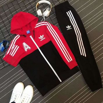 One-nice™ Adidas Casual Print Hoodie Top Coat Sweater Pants Trousers Set Two-piece Sportswear Red I-PSXY