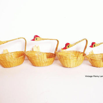 Vintage Wicker Baskets, Painted Chicken Handles, Set of Four