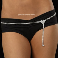 Rhinestone Belly Chain-Belt With Heart