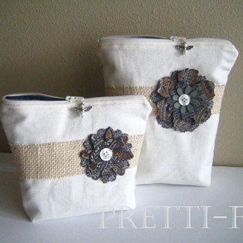 Canvas Cosmetic Bag Set, Chic Jean Bag, French Shabby Bag, Small Bags Canvas Burlap Bags, Country Style Bags, Light Color Bag, Matching Bags