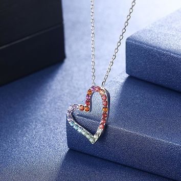 Sterling Silver Rainbow Heart Necklace made with Swarovski Cryst 4598c7a082