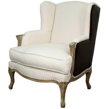 Marie Wing Arm Chair, Cereal/Vintage Coffee