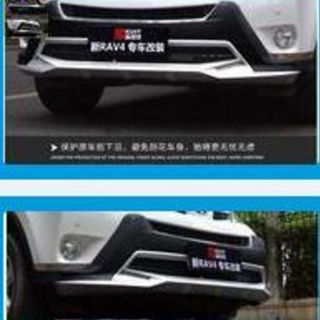 For RAV4 2014 2015 2016 2017 High Quality ABS Chrome Plastic Front + Rear Bumper Protector Cover Version  2 PCS / CAR SET