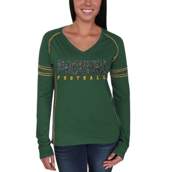 Green Bay Packers Majestic Women's Deep Fade Route Long Sleeve T-Shirt - Green