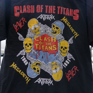 Deadstock CLASH Of The TITANS shirt 1991 Tour Slayer Anthrax Megadeth Alice In Chains n.o.s. slayer tshirt anthrax shirt megadeth shirt