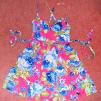 ABERCROMBIE & FITCH KIDS GIRLS DRESS PINK BLUE FLORAL SIZE LARGE