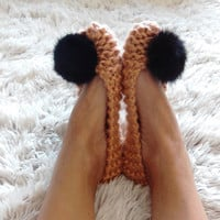 Chunky ochre slippers for women - Footwear - Handmade home shoes - Rabbit Fur Pom Pom - Knitted slippers - House flats - READY to SHIP