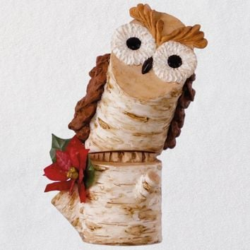 Birch Branch Owl Ornament