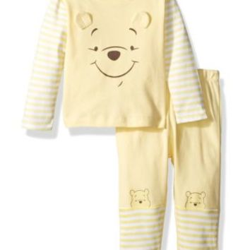 Disney Baby Boys' Winnie the Pooh 2 Piece Top Big Face Set Pale Banana 18M