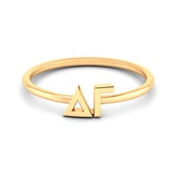 Delta Gamma Yellow Gold Thin Band Letter Ring - Nava New York