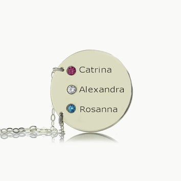 Mothers Kids Names Necklace / Jewelry in Sterling Silver / Personalized Mom Jewelry