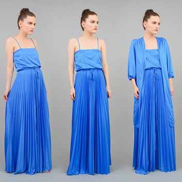 70s Dress Blue Maxi Dress Accordion Pleated Dress Vintage 1970s Boho Grecian Formal Maxi Dress with Duster Jacket XS S