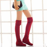 Over The Knee Thigh High Women Boots Suede Shoes