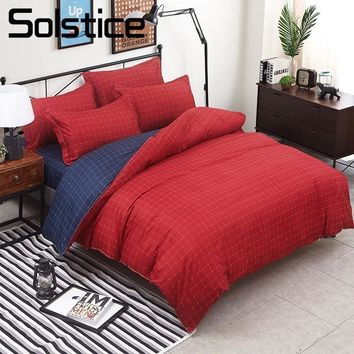 Solstice Home Textile King Twin Full Queen Bedding Set For Kid Adult Boy Girl Red Blue Plaid Stripe Duvet Cover Pillowcase Sheet