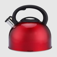 ONETOW 3L Stainless Steel Whistling Kettle Quality Tea Kettle Red Water Kettle Whistling Spout Locking Cover Stovetop Whistling Kettle