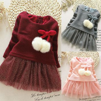Casual style long sleeve lovely little girl design dress