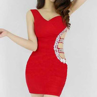 Red Diamonds Cut Out Sleeveless Mini Dress