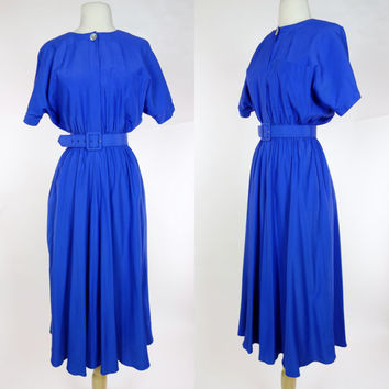 1980s blue dress, rayon short sleeve A line belted shirt waist dress, Carol Anderson, Medium