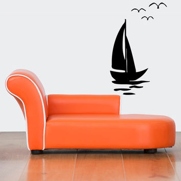 Room Wall Vinyl Sticker Decals Mural Design Mural Art Sailing Boat Vessel Ocean Sea-Gals Water 887